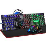 4'ü 1 arada Klavye + Mouse + Kulaklık + Mouse Ped Seti 4 Adet Oyun Kit 104 Tuş LED solunum Arka Işık Mekanik Feel Gaming Klavye 3.5mm Jack 50mm Sürücü Kulaklık 80*30cm Büyük Mouse Ped