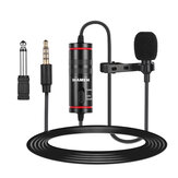 MAMEN KM-D1 Wired microphone Clip-on Lapel microphone CVC Noise Reduction 8M Cable 3.5MM Plug Mini Condenser Mic for Meeting Broadcast Vlogging Recording