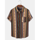 Mens Ethnic Style Striped Printing Lapel Shirt With Pocket