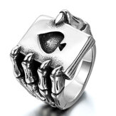 Punk Vintage RVS Poker A Rings Trends Eagle Claw Skull Ring Claw Playing Card Ring voor mannen