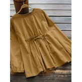 Frauen Vintage Baumwolle Elastic Waist Trim Schnür einfarbige Bluse