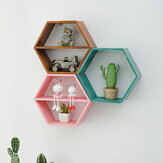 Hexagon Wall Mounted Shelf Rack Decorative Frame Wall Punch-free Bookshelf Decorations Display Stand Organizer for Office Home Living Room Bathroom
