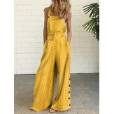 Women Polka Dot Print Side Button Loose Daily Casual Jumpsuits With Pocket