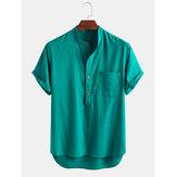 Camisas Henley 100% algodón transpirable con cuello alto y manga larga para hombre