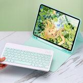 2-IN-1 bluetooth draadloos toetsenbord met pennenhouder Flip opvouwbare PU lederen tablet beschermhoes voor iPad 2019 10.2 inch