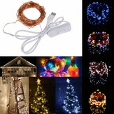 10M 100 USB impermeabile LED Fairy String Rame Filo HoliDay Light con interruttore per decorazioni per feste