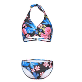 Women Sexy Swimsuit Triangular Tie Hanging Neck Flower Printing Bikini Set