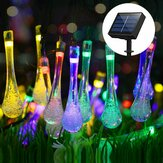 6.5M 30LED Solar Water Drop String Lights Groothoek LED Regendruppel Teardrop Outdoor Fairy String Lights voor Tree, Garden, Home, Wedding, Party, Patio, Holiday Decor (Multicolor / Warm White / White)
