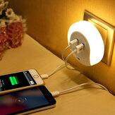 Loskii DX-99 110-220V Smart Light Control LED Night Light avec prise Dual USB Phone Charging Switch