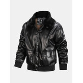 Mens Zipper Big Flap Pocket Fur Collar Cargo PU Jacket
