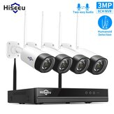 Hiseeu WNKIT-4HB312 8CH 3MP 1536P  Wireless CCTV Security System NVR Kit  IR Outdoor Audio Recorrd IP Camera Waterproof Wifi NVR Kit Video Surveillance