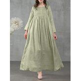 Dames vierkante hals geplooide knoop casual maxi vintage jurk met zijzakken
