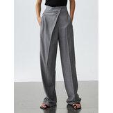 Mujer Color Sólido Cremallera Irregular Mosca Suelta Casual Recta Pantalones Con Bolsillo