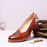 SOCOFY Retro Flower Genuine Leather Slip On Sequin heel Pumps