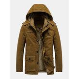 Erkek Vintage Çok Cepli Kalınlaştırılmış Yıkanmış Sıcak Kadife Astarlık Mont