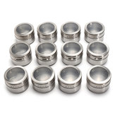 12Pcs Stainless Steel Magnetic Spice Tin Kitchen Storage Container Jars Clear Lid