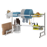 79/91cm Kitchen Shelf Organizer Dish Drying Rack Over Sink Utensil Holder 2-Tier