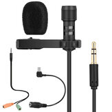 Yanmai R955 Lavalier Omnidirectional Double Condenser Microphone Clip-on Lapel Condenser Microphone For Gopro Camera Phones