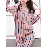 Women Classic Striped Camp Collar Long Sleeve Elastic Faux Silk Waist Home Cozy Pajama Set