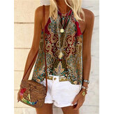 Ethnic Sleeveless Color Block Casual Camisole Tank Tops