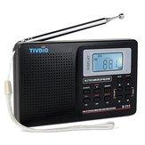 TIVDIOV-111MW/FM/ SW Radio Stéréo 9KHz Monde Bande Radio Tuning Numérique LCD Radio-réveil extérieur Pocket Radio à ondes courtes Radio-réveil Batterie Radio pour voyage