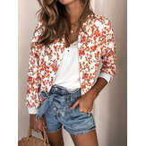 Women Casual Round Neck Zipper Floral Print Long Sleeve Coats