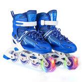 Ayarlanabilir tek sıra tekerlekli paten hız paten profesyonel spor ayakkabı Silindir Jiletler ile 1 yanıp sönen tekerlek ile çocuklar için genç Erişkin