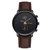 YOLAKO A0540 Masculino Fashion Style Waterproof  Men Leather Strap Quartz Watch