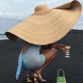 80cm Super Large Visor Hat Travel Holiday Seaside Sunscreen Folding Beach Straw Hat