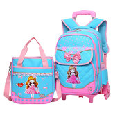 29L 2 Pcs  Kids Trolley Backpack Shoulder Bag Camping Trolley Case With Wheels