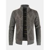 Erkek Grafik Sıcak Örgü Standı Yaka Uzun Kollu Kazak Ceket