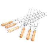 6 unidades / conjunto de aço inoxidável Fio espetos para churrasco Grelha com cabo de madeira varas para assar camping ao ar livre ferramenta para churrasco