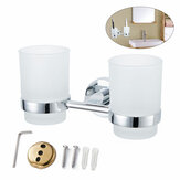 Single/Double Tumbler Cup Stainless Steel Toothbrush Cup Holder Wall Mounted Toothbrush Storage for Bathroom Rack