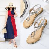 Women Clip Toe Braid Strap Rhinestone Flats Sandals