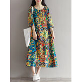 Women Floral Printed Loose 3/4 Sleeves O-Neck Dress