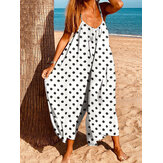 Bohemian Women Sleeve Jumpsuit Macacões Polka Dot Print Loose Summer Casual Jumpsuits