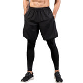 INCERUN Men's Base Layer Sports Jogging Running Leggings Gym 2-in-1 Fitness Shorts Pants