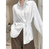 Neformální halenka s dlouhým rukávem, jednobarevná klopa pro ženy