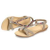 Beaded Roman Style Elastic Beach Flat Sandals