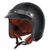 Open Face 3/4 Motosiklet Kask Retro Vintage PU Deri Erişkin Siyah Kahverengi