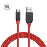 BlitzWolf® Ampcore BW-MC5 2.4A Micro USB gevlochten datakabel 6ft / 1.8m voor Samsung S7 Redmi Opmerking 4