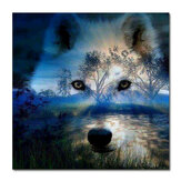 Full Drill 5D Diamond Painting Sunset Wolf 30*30 cm Embroidery Cross Stitch Crafts Home Office Wall Decoration