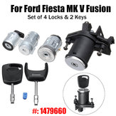 Set di 4 serratura Barilotto di accensione per sportello posteriore con 2 chiavi 1479660 per Ford Fiesta MK V Fusion