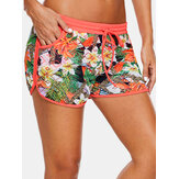 Women Floral Print Hollow Out Drawstring Swimming Boyshorts