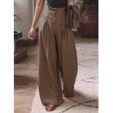 Pregas femininas de algodão elástico cintura solta casual pernas largas Calças com bolsos laterais