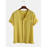 Mens 100% Cotton Solid Color Chest Pocket Hidden Button Casual Shirts