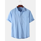 Mens 100% Cotton Solid Color Pocket Design Short Sleeve Casual Henley Shirts