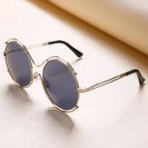 Kadın Erkek Unisex Vintage Anti-UV Çift Yüzük Güneş gözlüğü Retro Steampunk Yuvarlak Ayna Lens Gözlükler