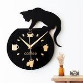 الكرتون الصامتة جدار ساعةحائط لطيف تسلق القط لشرب القهوة ساعةحائط الجدار الديكور فنجان القهوة ساعةحائط غرفة المعيشة ديكور المنزل