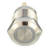 Machifit DC 5V 19 mm Interruptor momentáneo de 4 pines Led pulsador de metal ligero Impermeable Interruptor
